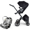 Stokke Xplory V6 and Stokke PIPA Travel System - Black Frame-Black / Black Handle / Black Melange-500504 / 519201-Strolleria