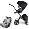 Stokke Xplory V6 and Stokke PIPA Travel System - Black Frame-Black / Brown Handle / Black Melange-500604 / 519201-Strolleria
