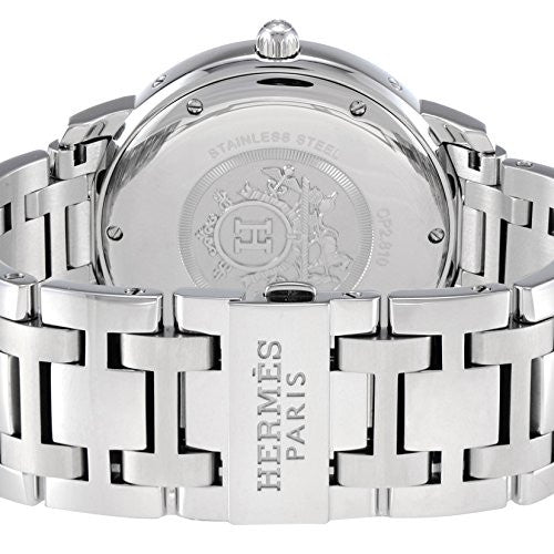 HERMÈS. PARIS. Clipper H Band Silver Stainless Steel Chain Link Mid Size Watch