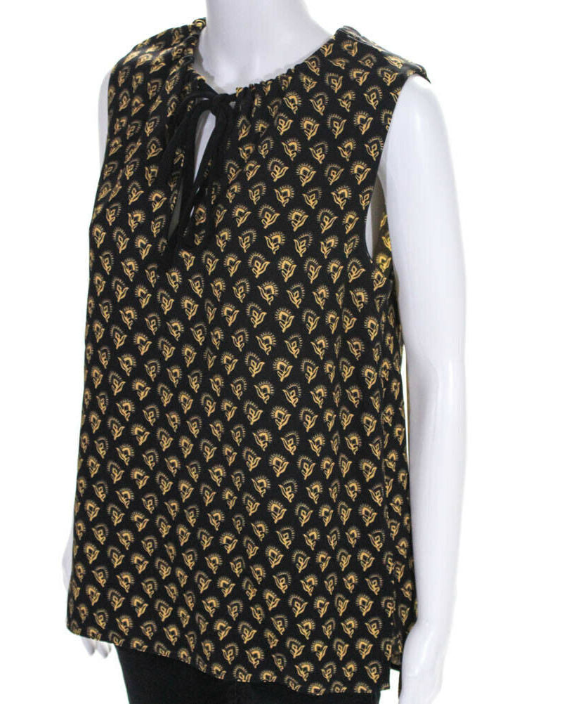 Proenza Schouler Black/Yellow Sleeveless V-Neck Blouse