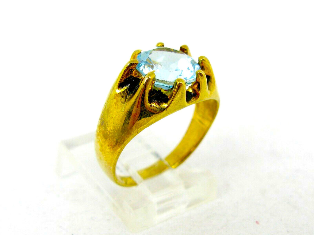 14K/Sterling Silver 2ct Natural Blue Topaz Ring