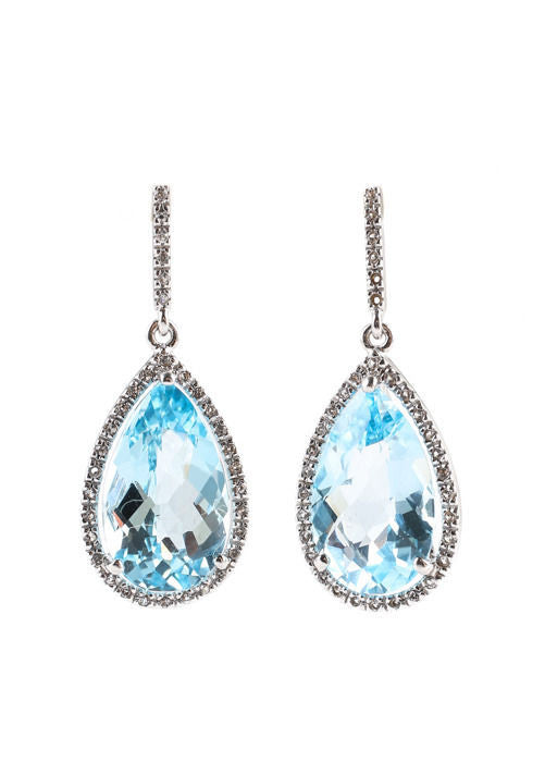 RARITIES. Sterling Silver White Zirconia Blue Topaz Drop Dangles Earrings