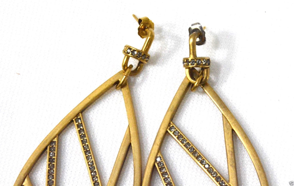 "Paige Novick. ""Phoebe"" Matte Gold Broken Line Earrings NEW Swarovski Crystals"