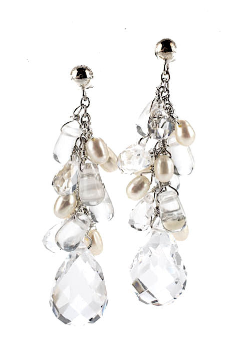 DIANA VENEZIA. Sterling Crystal Pearl Faceted Cluster Drop Earrings