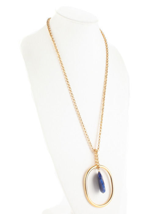 DESIGNER. Unsigned. Gold Plated Metal Blue Quartz Stone Accent Pendant Necklace