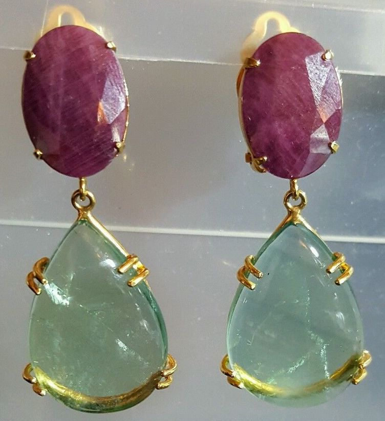 Bounkit Earrings with Genuine Rubies and Fluorite  24k Plated - PILGRIM NEW YORK