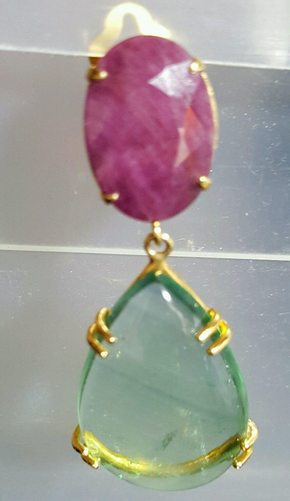 Bounkit Drop Earrings with Rubys and Fluorite Set in 24k Plated Gold