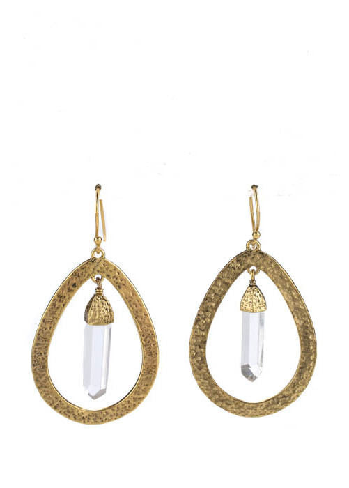 Designer. Sterling Silver Bronze Coated Rock Crystal Hammered Texture Teardrop Earrings