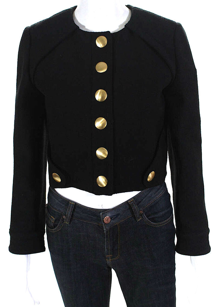 Proenza Schouler NWT. Snap Button Cropped Jacket Black Gold