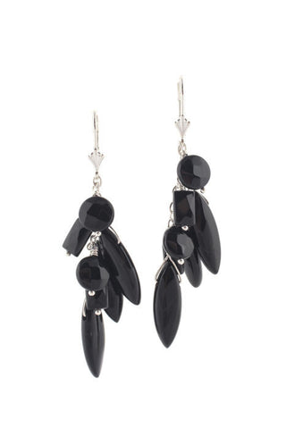 Chanel Paris. 2003A Black Resin Handpoured Pierced  CC Logos Dangle Earrings