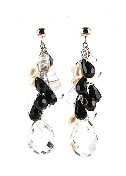 DIANA VENEZIA. Sterling Crystal Onyx Faceted Cluster Drop Pierced Earrings