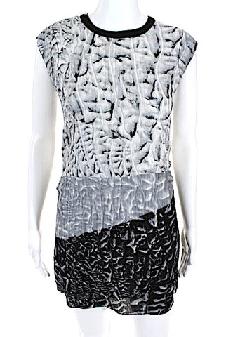 Helmut Lang Sleeveless V Neck Mini Dress White Black Size 4
