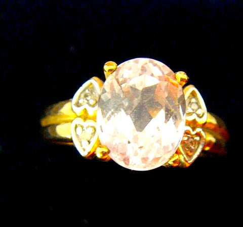 Vintage 10k Yellow Gold Ladies Ring w/ Yellow Sapphire & Diamond on Each Side