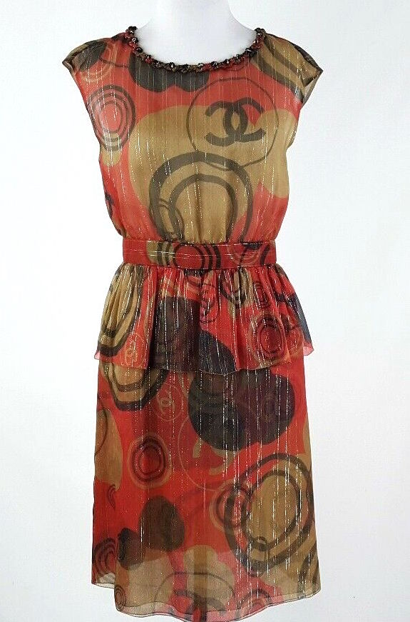 "Chanel Paris. 11Cruise Brown Red Lurex Silk ""CC"" Logo Peplum Dress Size 38 FR 6 US"