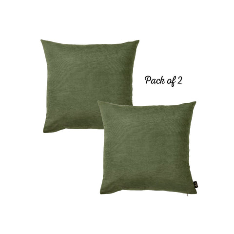 Set of 2 Fern Green Brushed Twill Decorative Throw Pillow Covers Set of 2