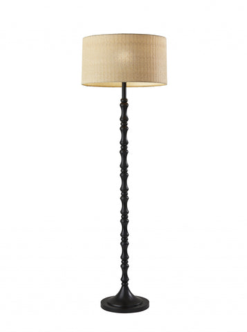 Black Natural Boho Floor Lamp With Turned Base Black Natural Boho Floor