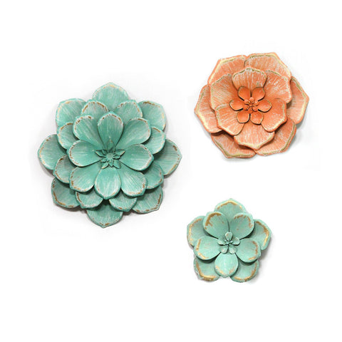 S/3 Distressed Stunning Tricolor Metal Flowers S/3 Distressed Stunning