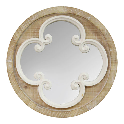 Coastal Whitewash Scrollwork Wall Mirror Coastal Whitewash Scrollwork Wall