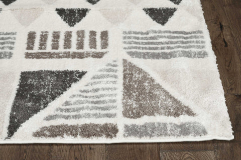8' Ivory Mocha Machine Woven Geometric Indoor Runner Rug 8' Ivory Mocha
