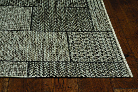 3'x4' Grey Machine Woven UV Treated Geometric Blocks Indoor Outdoor Accent