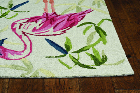 2'x3' Ivory Pink Hand Hooked Flamingo Indoor Accent Rug 2'x3' Ivory Pink