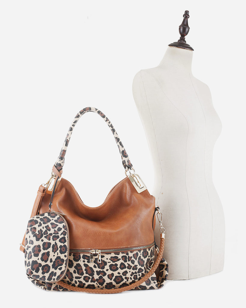 2 PC Set Leopard Front Zipper Hobo
