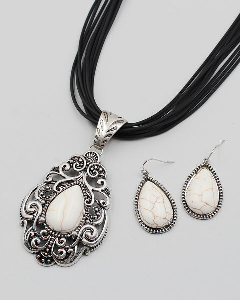 Antique Silver Casting Pendant Necklace Set