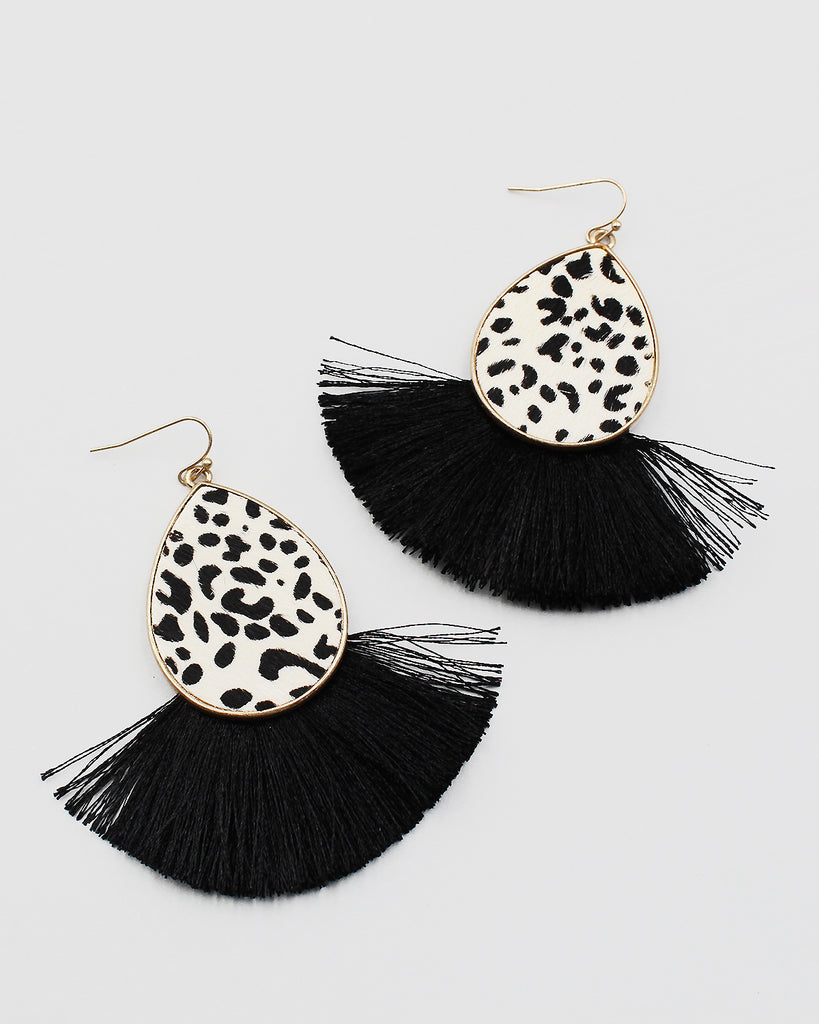 Animal Print Cow Hide Earrings with Fringe End