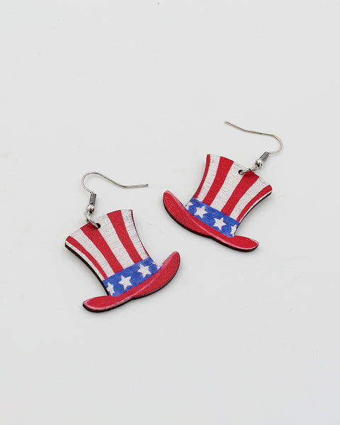 Red, White and Blue Hat Dangle Earrings
