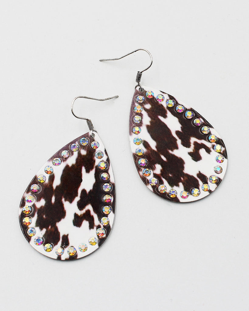 Texas Map Wood Earrings with Cactus Print