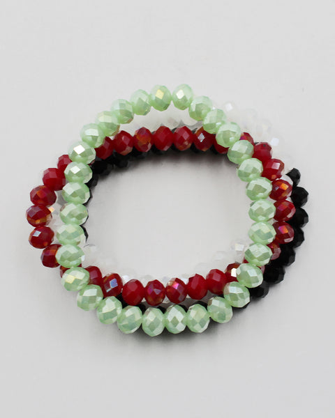 Mixed Color Faceted Crystal Beaded Bracelet