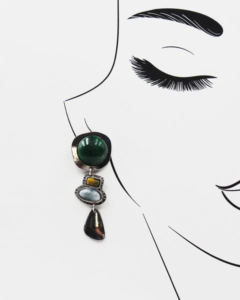 Crescent Moon with Dangling Stone Earrings