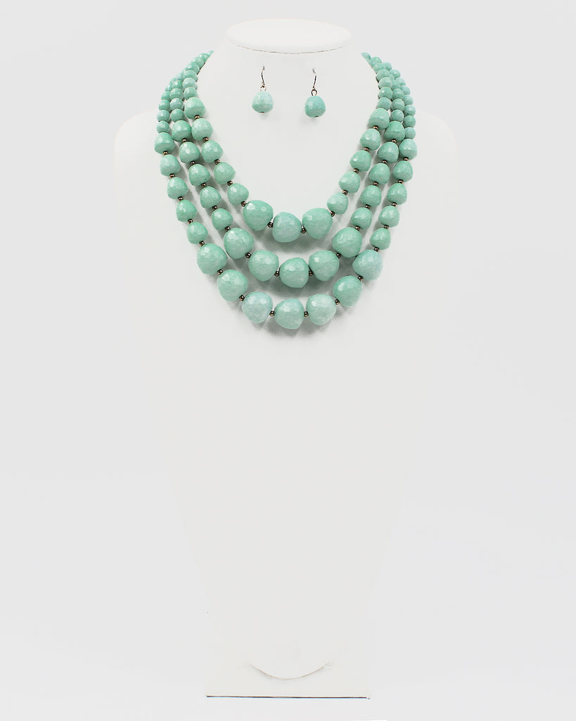 Faceted Resin Ball Multiple Layered Necklace Set