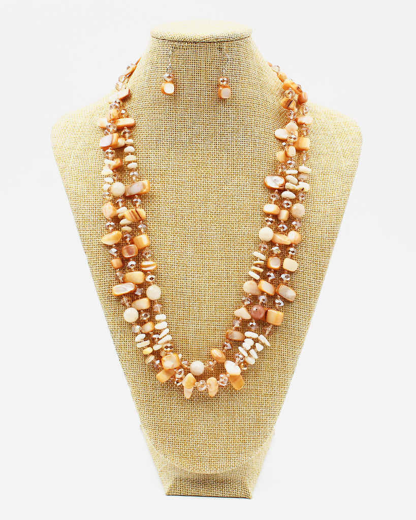 Chip Stone and Crystal Beaded Necklace Set
