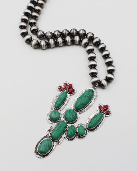 Cactus Pendant Necklace with Navajo Pearl Chain