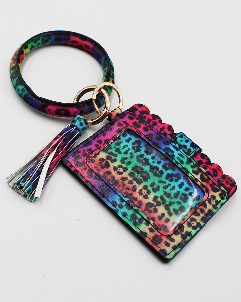 Spot Print Bracelet Key Ring with Card Holder