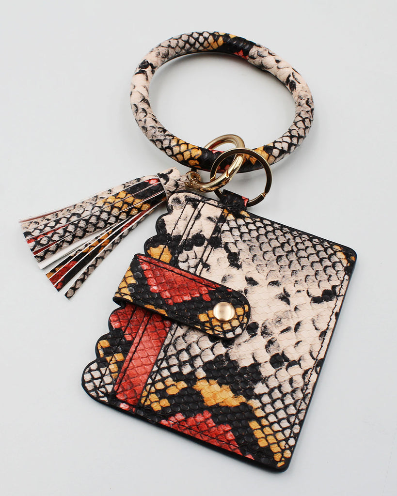 Snake Print Bracelet Key Ring with Card Holder