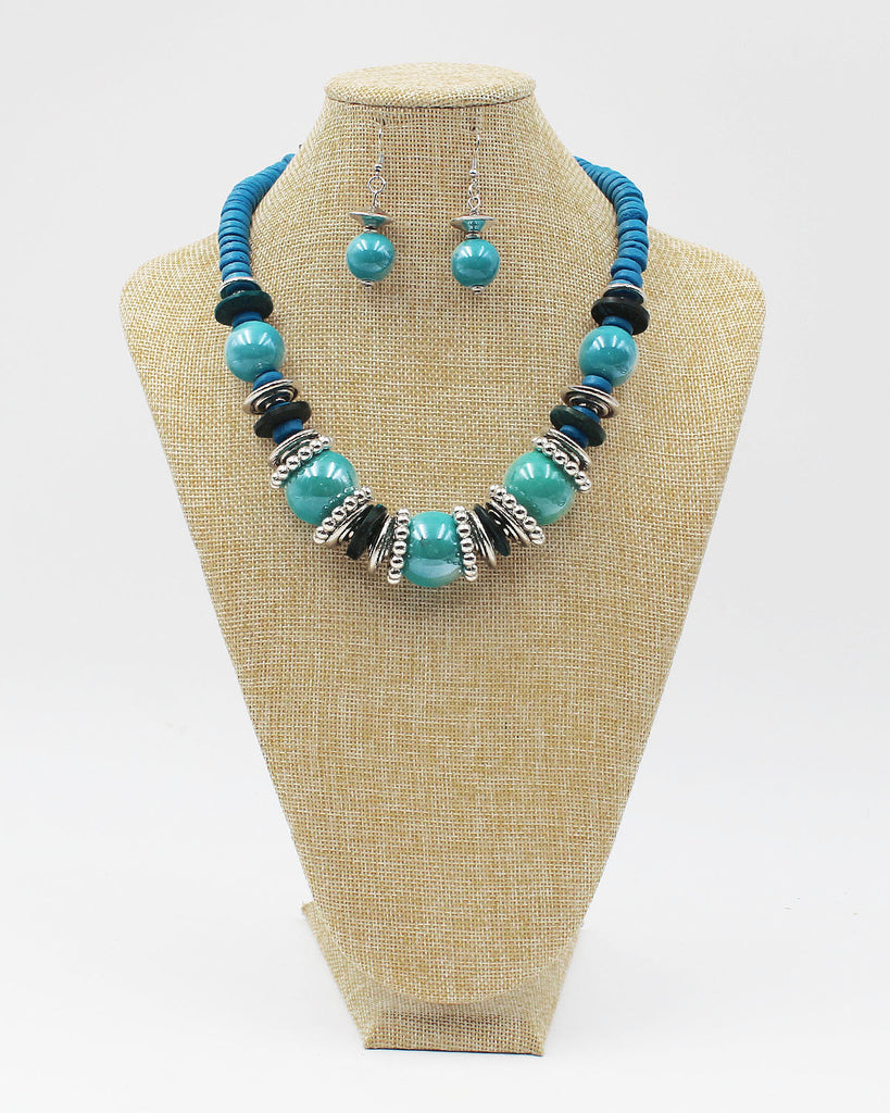 Glass Beaded Necklace Set with Heishi Bead Chain