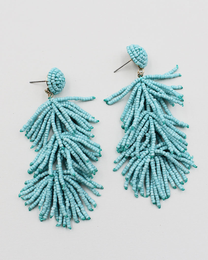 Tiered Fringe Earrings with Matt Gold Top