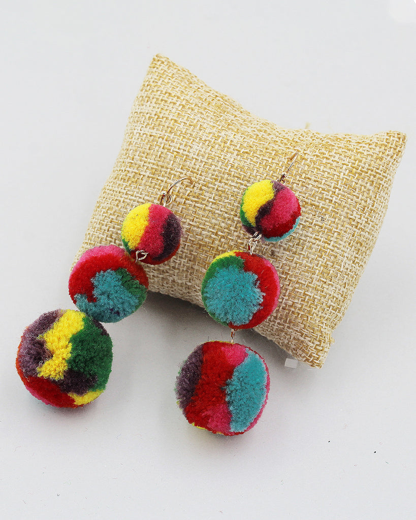 Triple Tier Pom Pom Dangle Earrings
