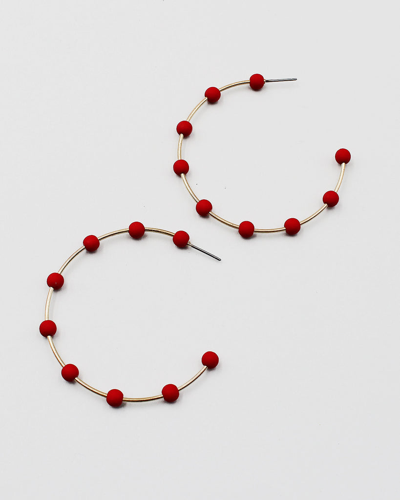 Wooden Flower Print Cattle Tag Fringe Earrings