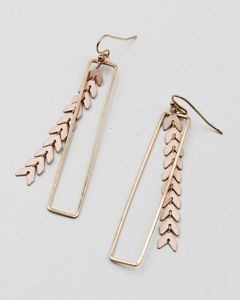 Cross Hammered Antique Metal Earrings with Metal Fringe