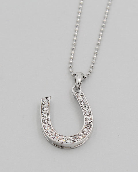 Horseshoe Crystal Pendant Necklace