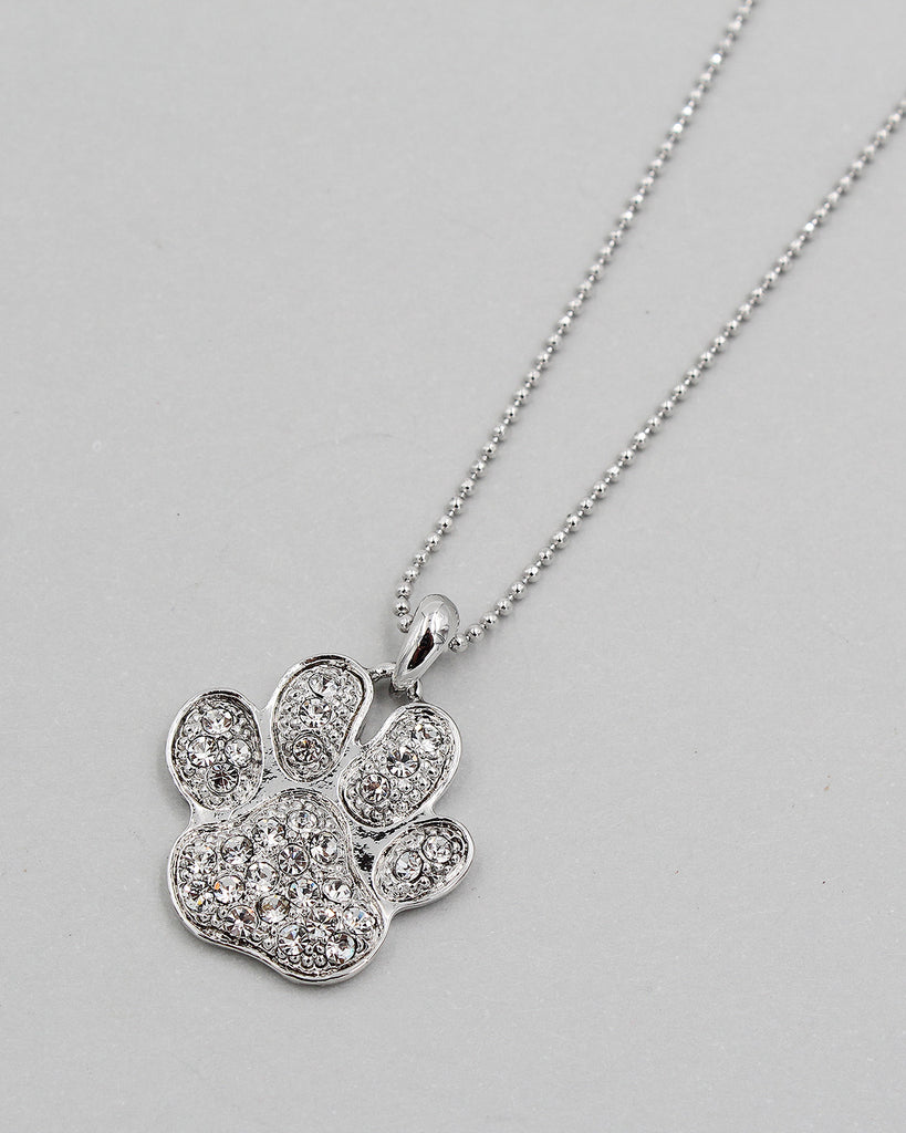 Bear Paw Crystal Pendant Necklace