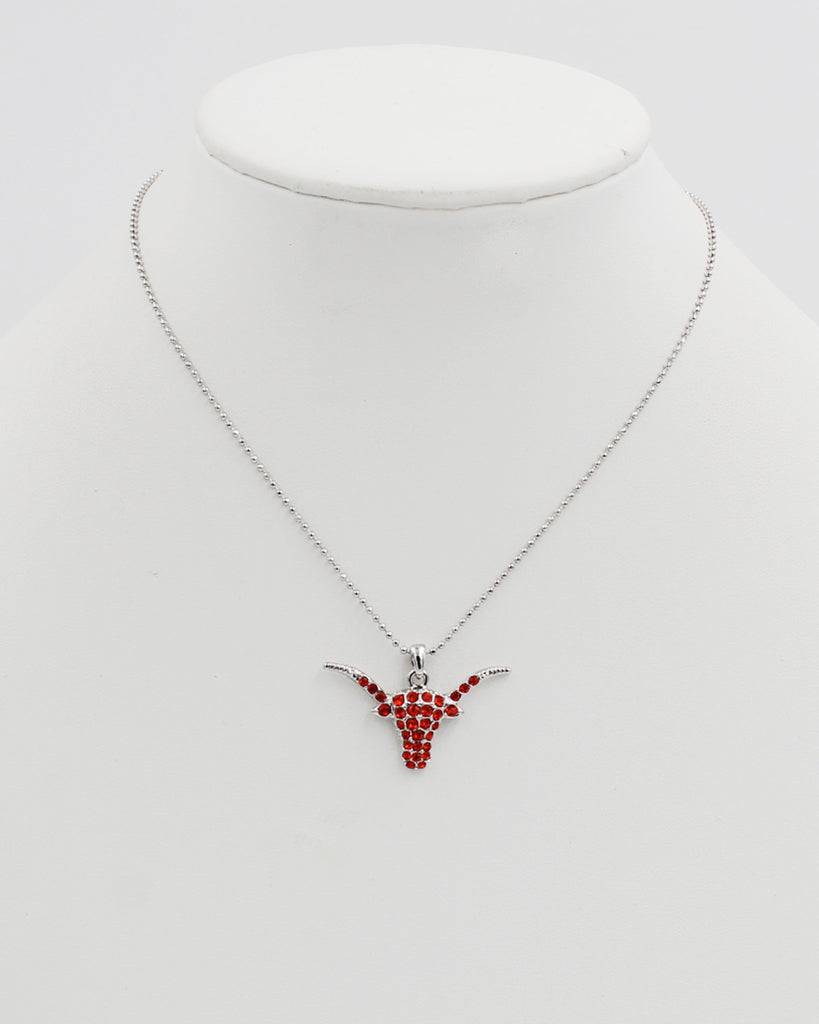Texas Bull Crystal Pendant Necklace