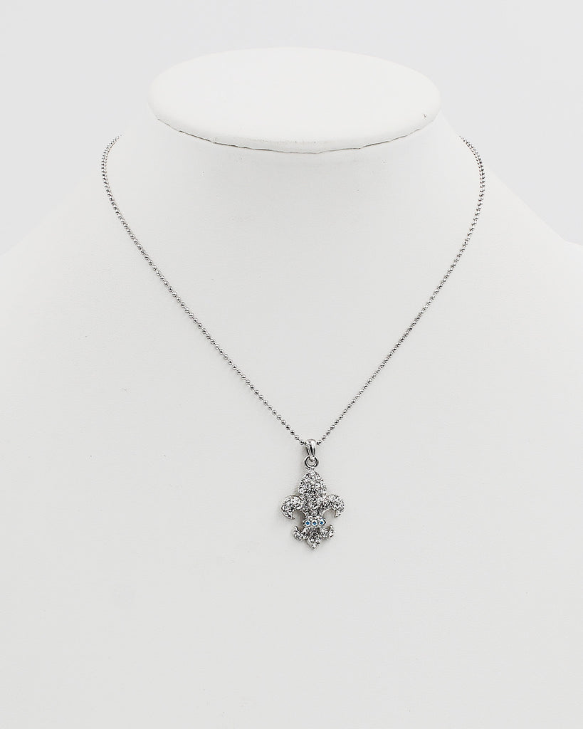 Fluer De Lis Crystal Pendant Necklace