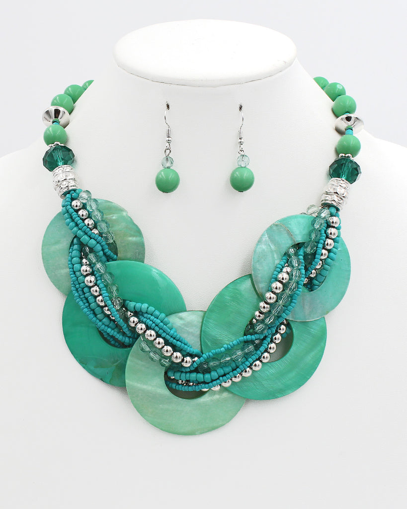 Round Shell Link Collar Necklace Set