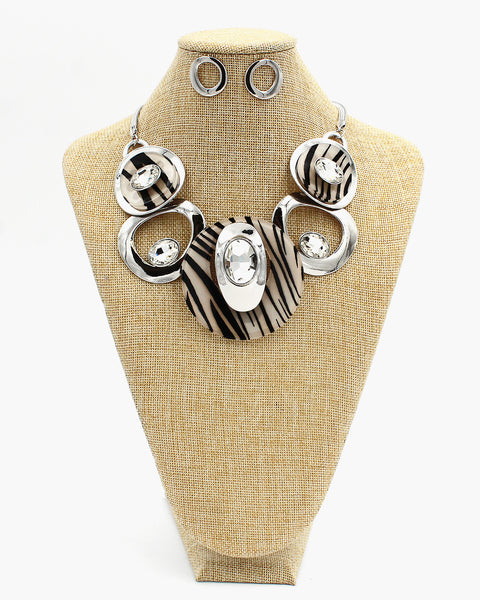 Zebra Print Statement Necklace Set