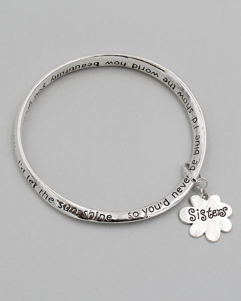 SISTER Inspirational Bangle Bracelet with Charm