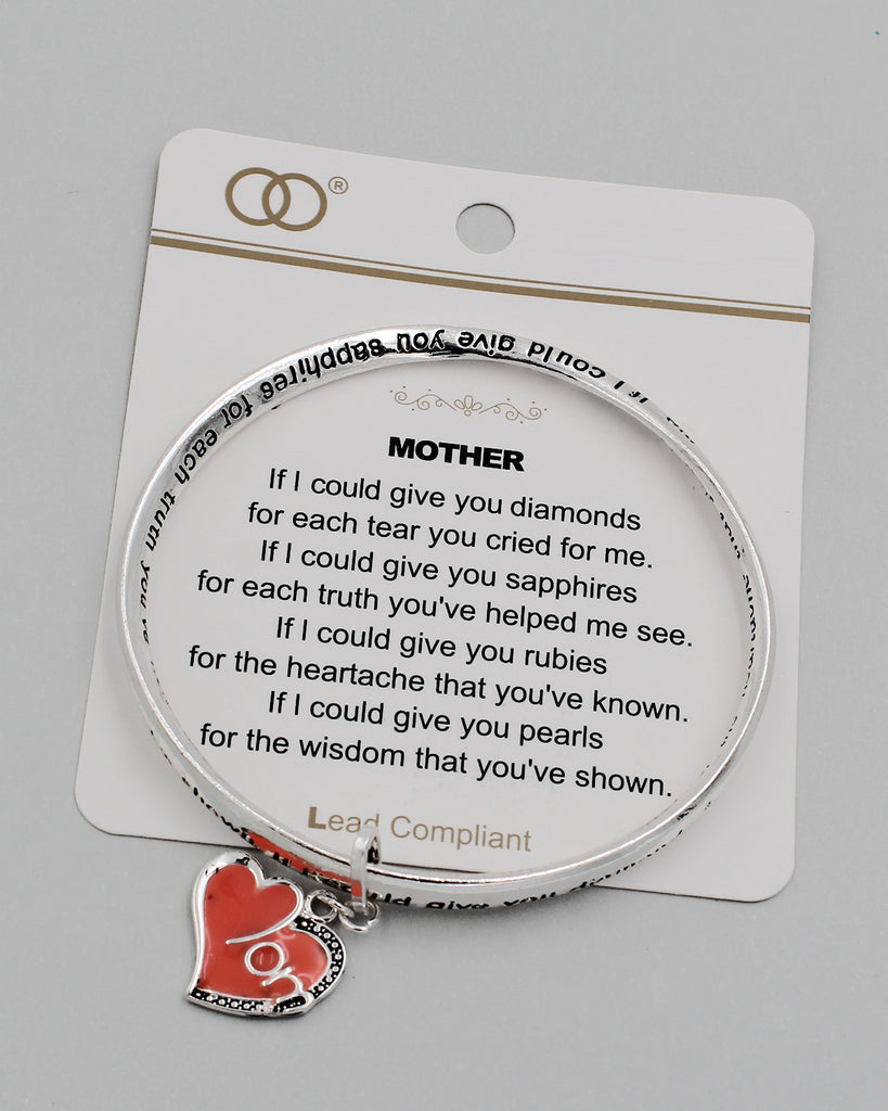 MOTHER Inspirational Bangle Bracelet with Charm